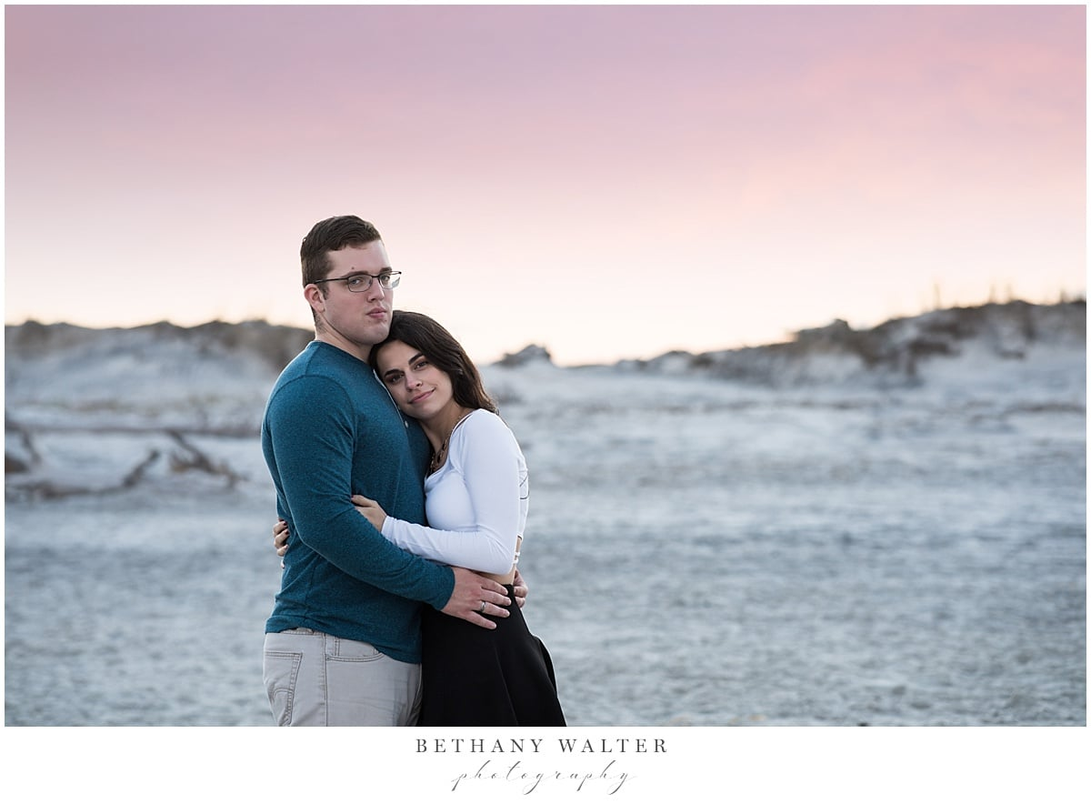 Couple in Love During Their Engagement Session on Little Talbot
