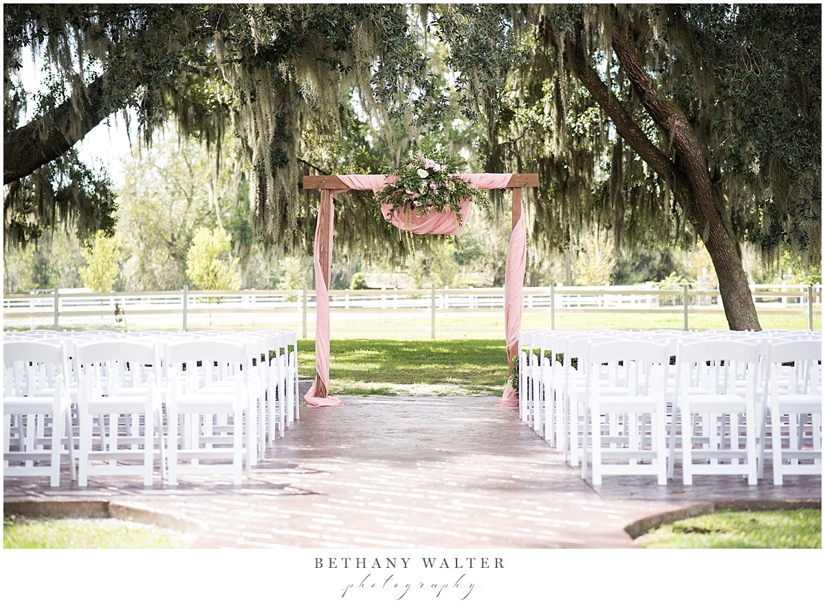 Plantation Oaks Wedding Ceremony Decor by Event Decor and More by Carla and Flowers by SPR Events
