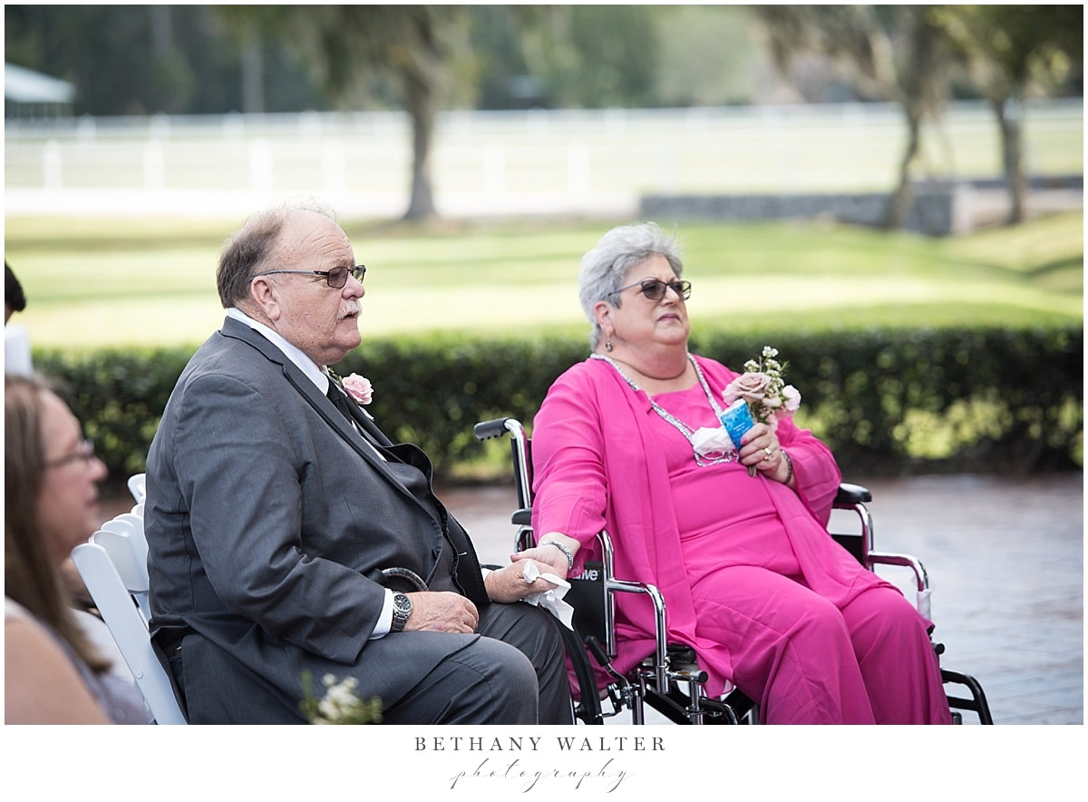 Parents of the bride at the Plantation Oaks Wedding Ceremony
