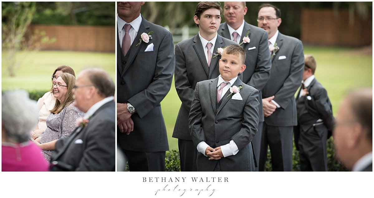 Family and groomsmen reactions during the wedding ceremony at Plantation Oaks