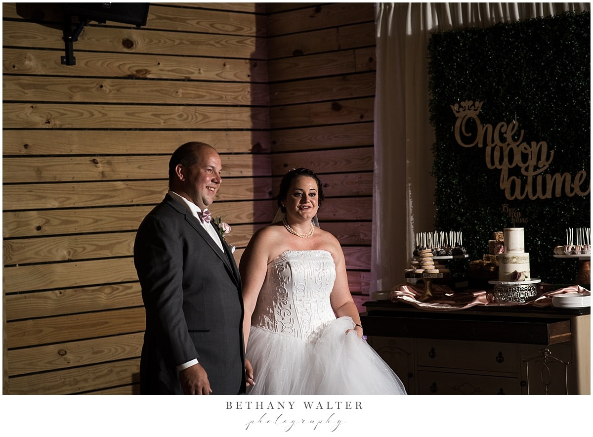 Bride and groom reception reveal at Plantation Oaks
