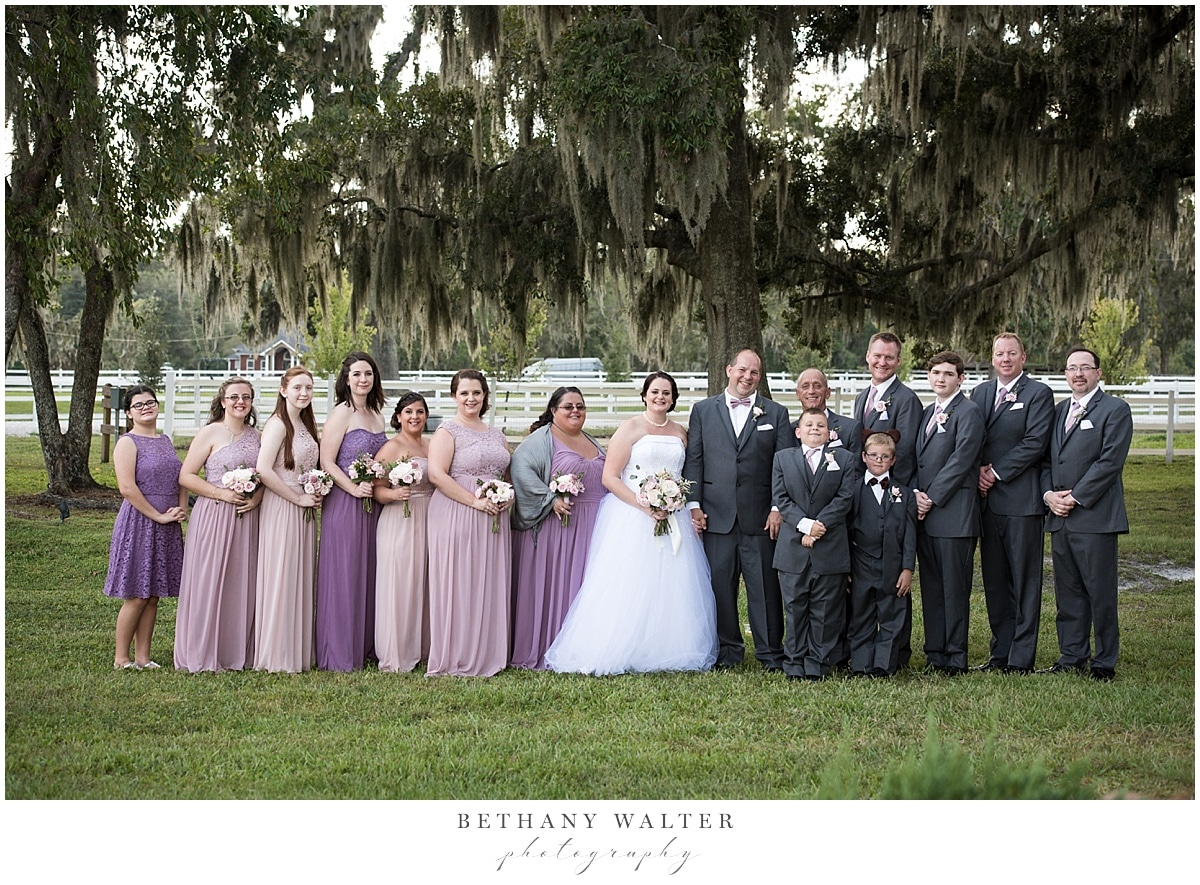 Bridal Party under the trees at Plantation Oaks