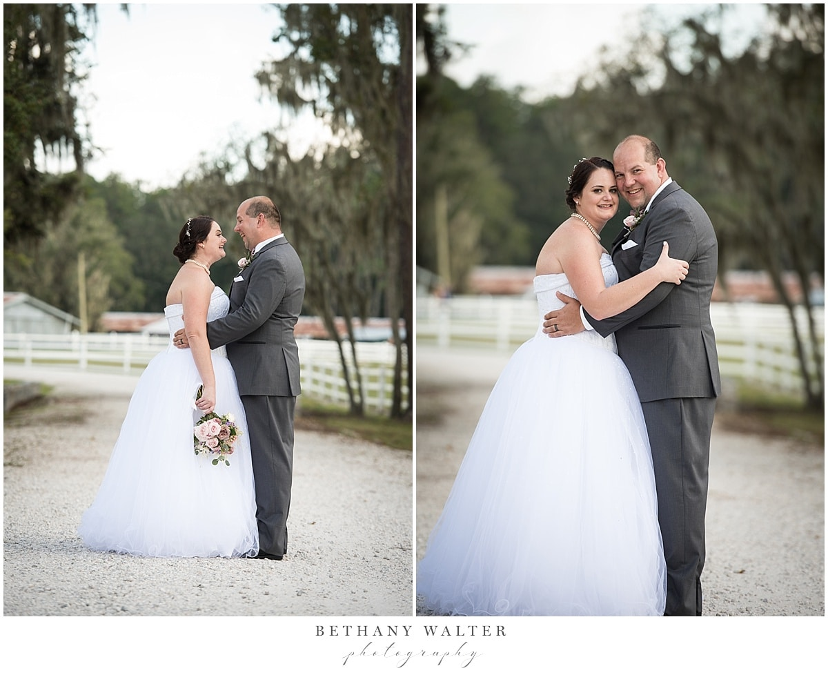 Bride and groom after their Plantation Oaks Wedding