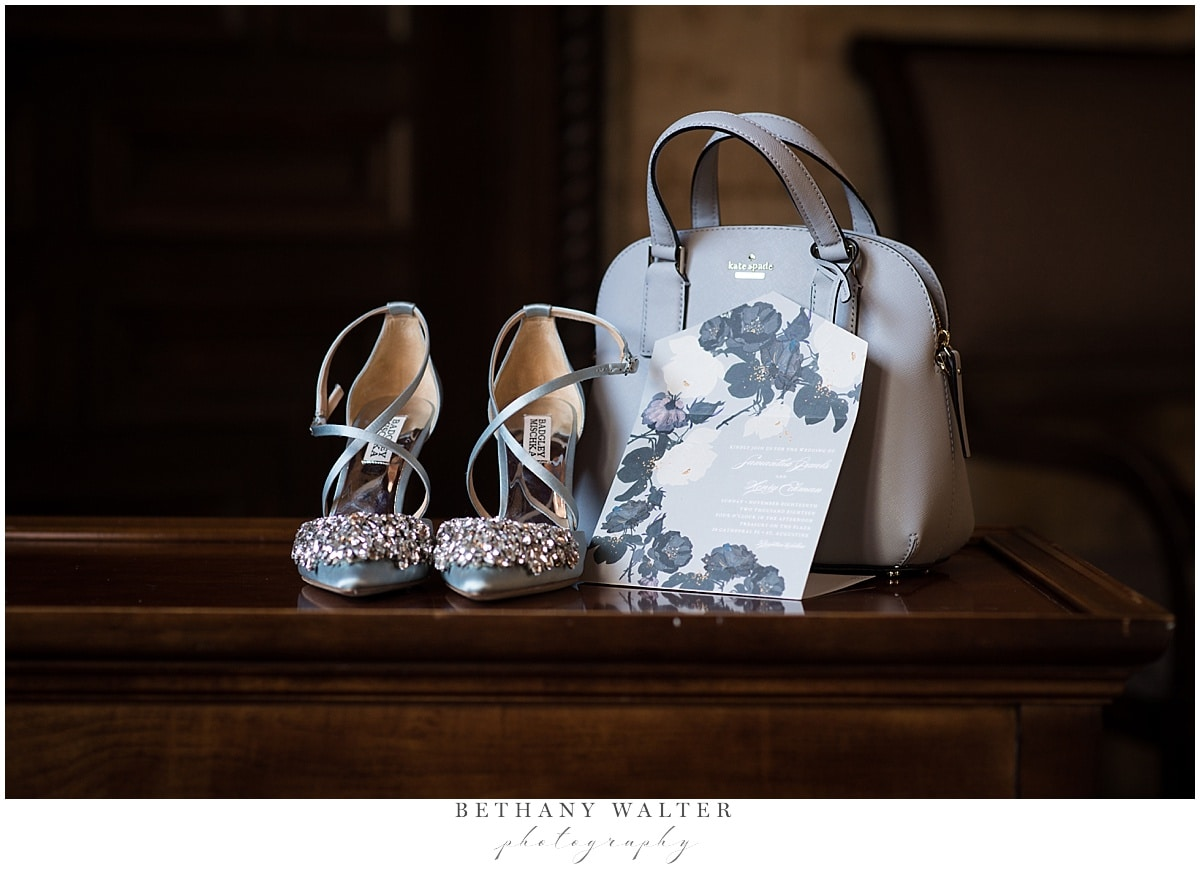 Brides Shoes, Purse, and Invitation at Treasury on the Plaza