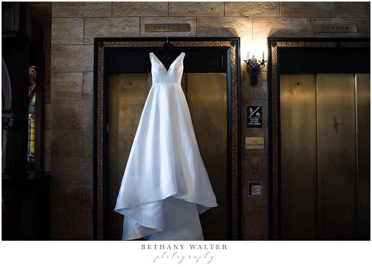 Bride's Dress Hanging on the Elevators at Historic Treasury on the Plaza