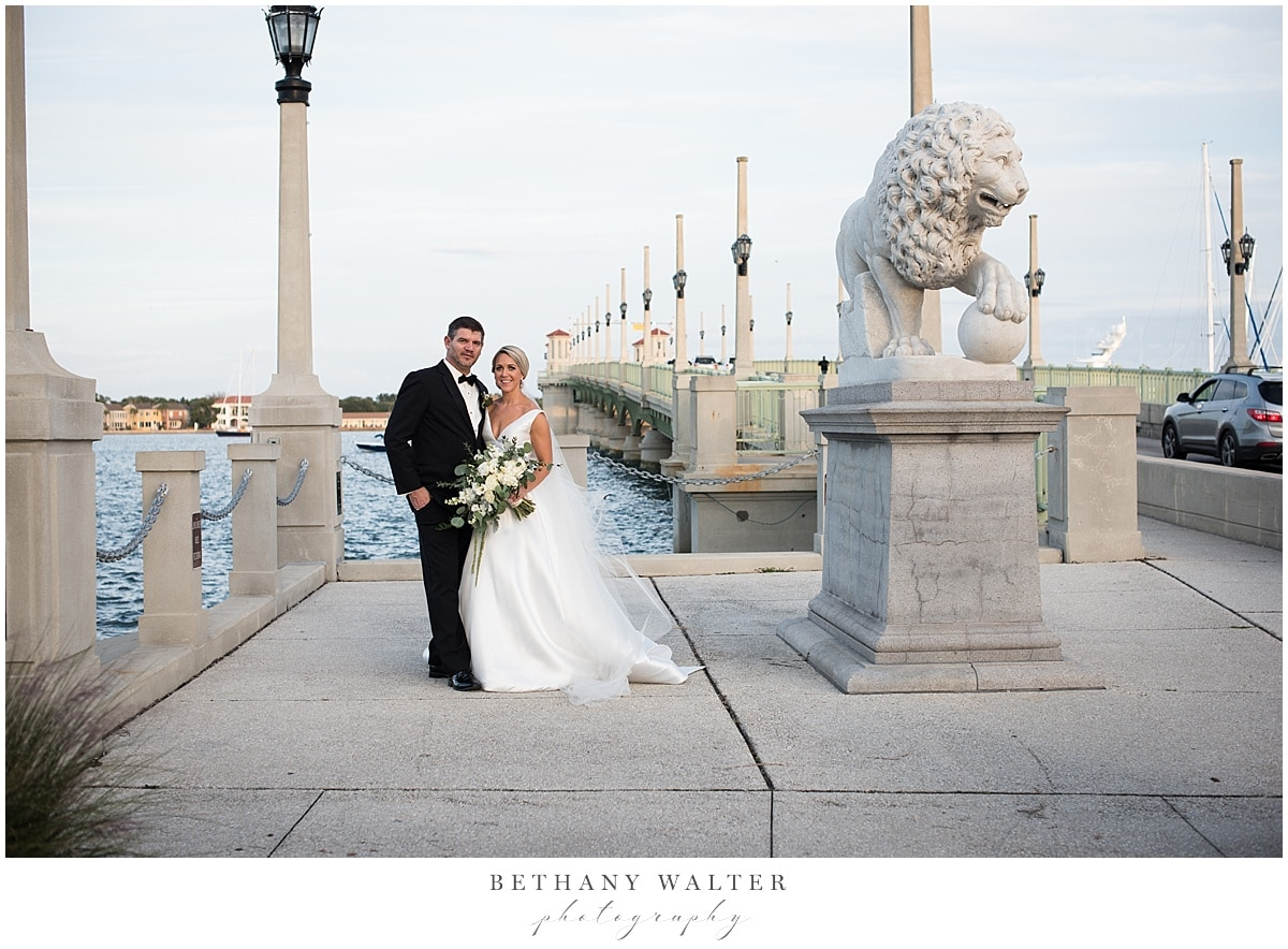 Bride and Groom at the Bridge of Lions in St Augustine