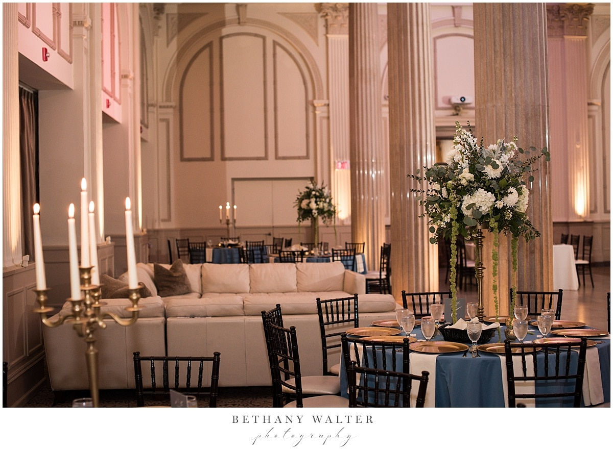 Reception Setup at Treasury on the Plaza with Florals by Jade Violet