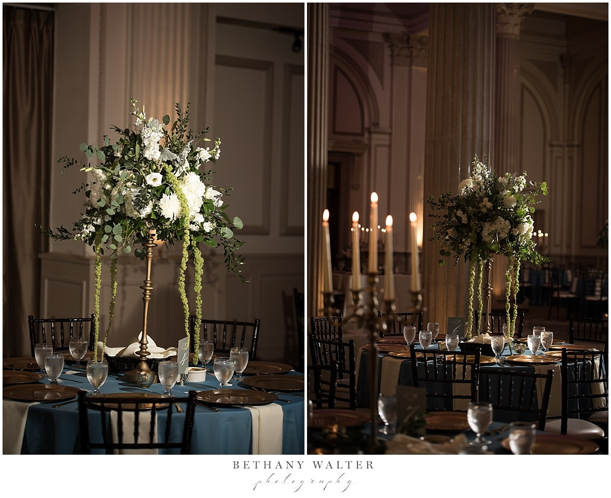 Reception Decor at Treasury on the Plaza with Tall Floral Centerpieces by Jade Violet