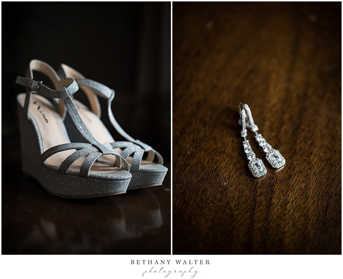 bride's shoes and earings at st johns golf and country club
