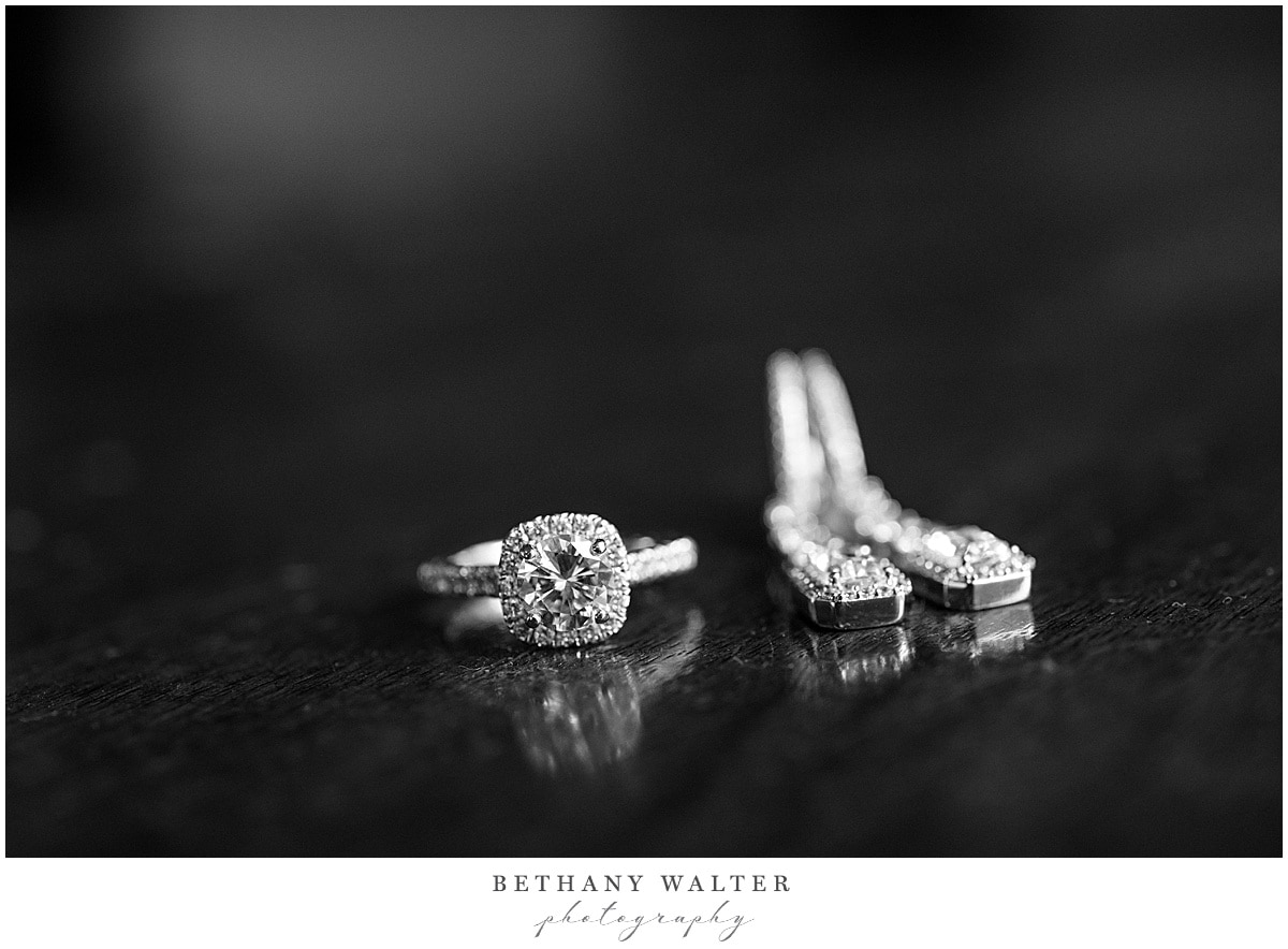 bride's engagement ring and earrings at st johns golf and country club